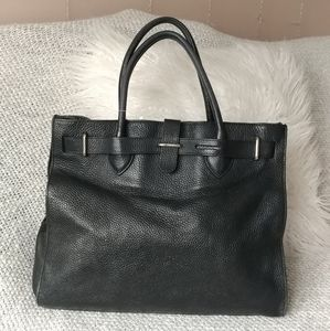 Furla Birkin Style Black Leather Shopper Bag